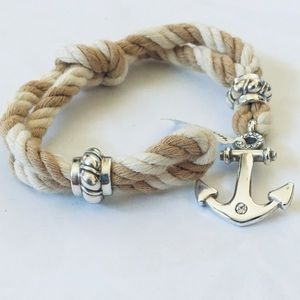 NEW Brighton Coastal Twist Rope Bracelet Tan Cream